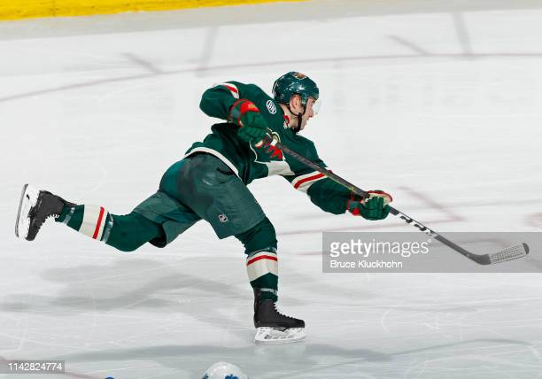 Brad Hunt of the Minnesota Wild takes a shot on goal during a game with the Winnipeg Jets at Xcel Energy Center on April 2 2019 in St Paul Minnesota