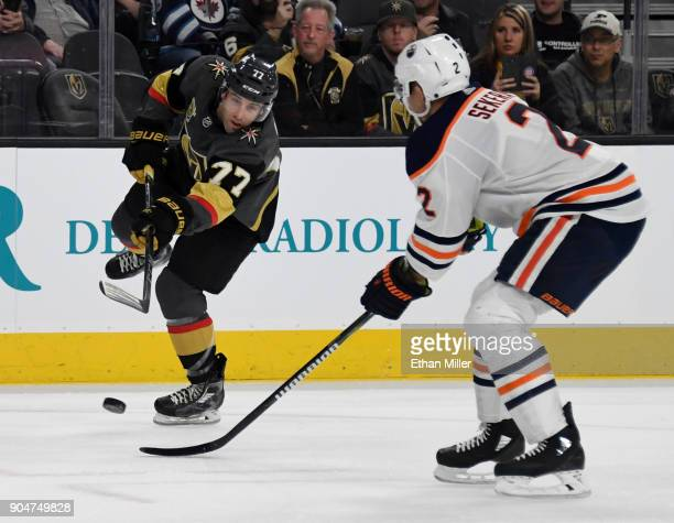 Brad Hunt of the Vegas Golden Knights shoots against Andrej Sekera of the Edmonton Oilers in the second period of their game at TMobile Arena on...