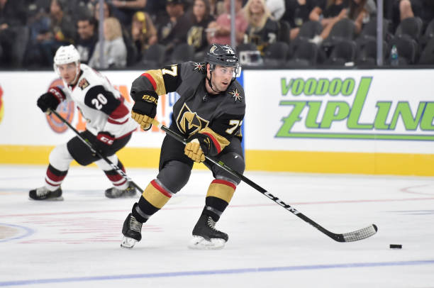 Brad Hunt  77 of the Vegas Golden Knights skates during the third period  against the e958fc992