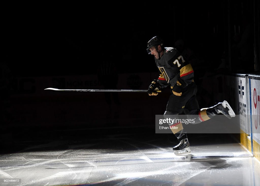 Brad Hunt #77 of the Vegas Golden Knights steps onto the ice for a game against the New York Rangers at T-Mobile Arena on January 7, 2018 in Las Vegas, Nevada. The Golden Knights won 2-1.