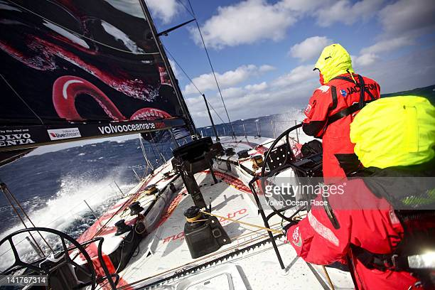 Brad Jackson from New Zealand helming in tough conditions in Southern Ocean onboard PUMA Ocean Racing powered by BERG during leg 5 of the Volvo Ocean...