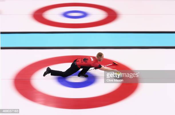 Brad Jacobs of Canada in action during curling training on day 2 of the Sochi 2014 Winter Olympics at the Ice Cube Curling Centre on February 9, 2014...