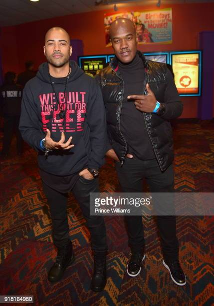 Brad James and Errol Saddler attend 'Black Panther' Advance Screeing at Regal Hollywood on February 13 2018 in Chamblee Georgia