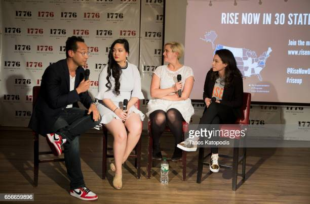 Brad Jenkins Amanda Nguyen Kelly Hudson and Tatiana Maslany attends Rise and Funny Or Die's PSA premiere hosted by Tatiana Maslany on March 22 2017...