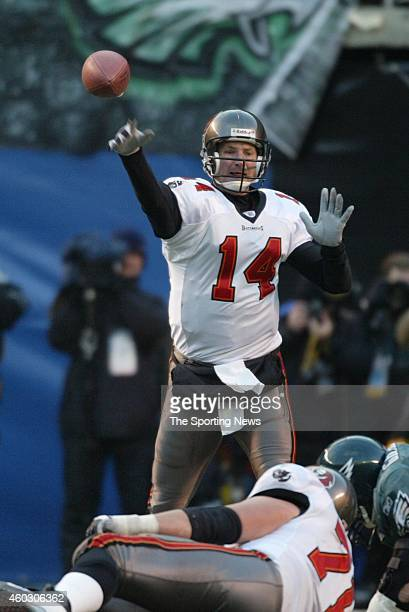Brad Johnson of the Tampa Bay Buccaneers in action during a game against the Philadelphia Eagles on January 19 2003 at Veteran's Stadium in...