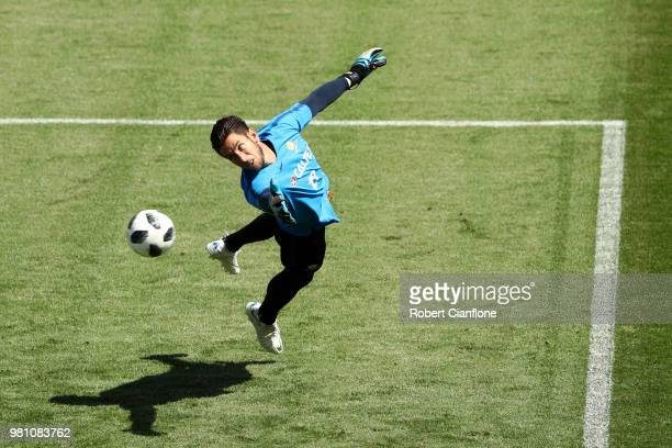 Brad Jones of Australia takes part during an Australian Socceroos training session at Stadium Trudovye Rezervy on June 22 2018 in Kazan Russia