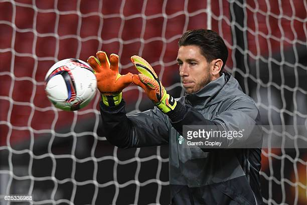 Brad Jones of Feyenoord during the Feyenoord training sessi n at Old Trafford on November 23 2016 in Manchester England
