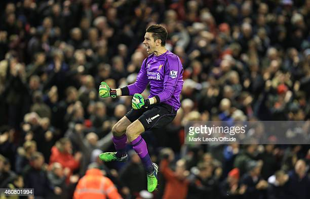 Brad Jones of Liverpool celebrates during the Barclays Premier League match between Liverpool and Arsenal at Anfield on December 21 2014 in Liverpool...