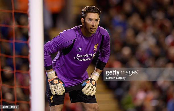 Brad Jones of Liverpool during the Capital One Cup Fourth Round match between Liverpool and Swansea City at Anfield on October 28 2014 in Liverpool...