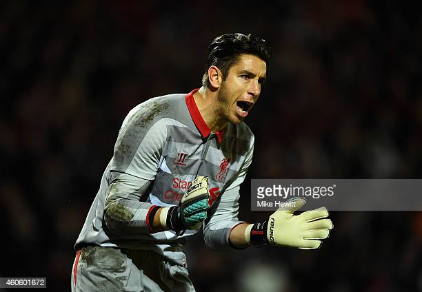Brad Jones of Liverpool encourages his team during the Capital One Cup QuarterFinal match between Bournemouth and Liverpool at Goldsands Stadium on...