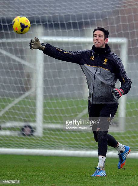 Brad Jones of Liverpool in aciton during a training session at Melwood Training Ground on January 31 2014 in Liverpool England