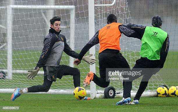 Brad Jones of Liverpool in action during a training session at Melwood Training Ground on January 31 2014 in Liverpool England