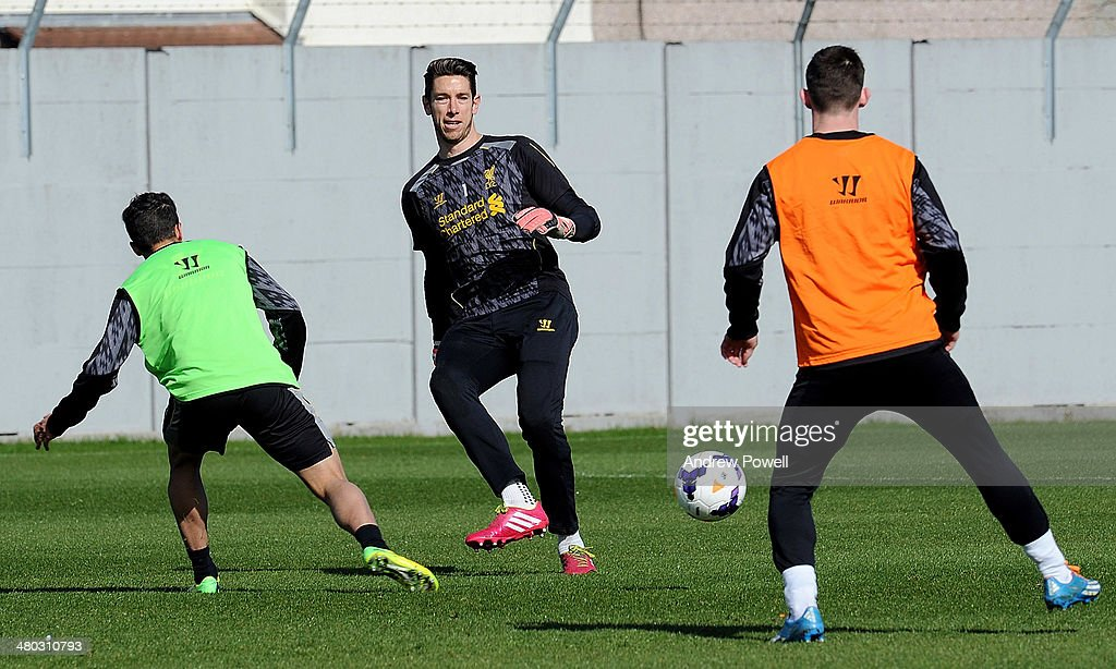 Brad Jones of Liverpool in action during a training session at Melwood Training Ground on March 24, 2014 in Liverpool, England.