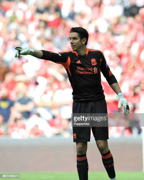 Brad Jones of Liverpool in action during the FA Cup Semi Final match between Liverpool and Everton at Wembley Stadium on April 14 2012 in London...