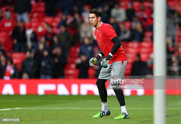 Brad Jones of Liverpool warms up prior to the Barclays Premier League match between Manchester United and Liverpool at Old Trafford on December 14...