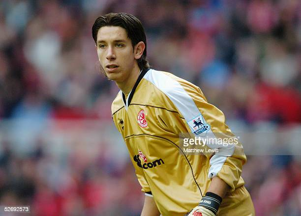 Brad Jones of Middlesbrough in action during the Barclays Premiership match between Middlesbrough and Arsenal at the Riverside Stadium on April 9...