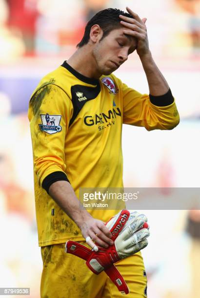 Brad Jones of Middlesbrough looks dejected following the Barclays Premier League match between West Ham United and Middlesbrough at Upton Park on May...