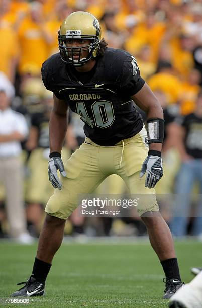 Brad Jones of the Colorado Buffaloes lines up against the Kansas Jayhawks at Folsom Field on October 20 2007 in Boulder Colorado Kansas defeated...