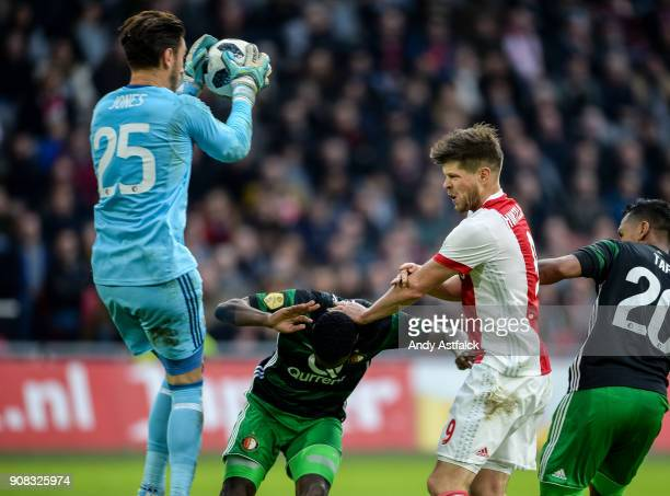 Brad Jones Sofyan Amrabat from Feynoord and KlaasJan Huntelaar from AJAX during the Eredivisie match between AJAX Amsterdam and Feyenoord on January...