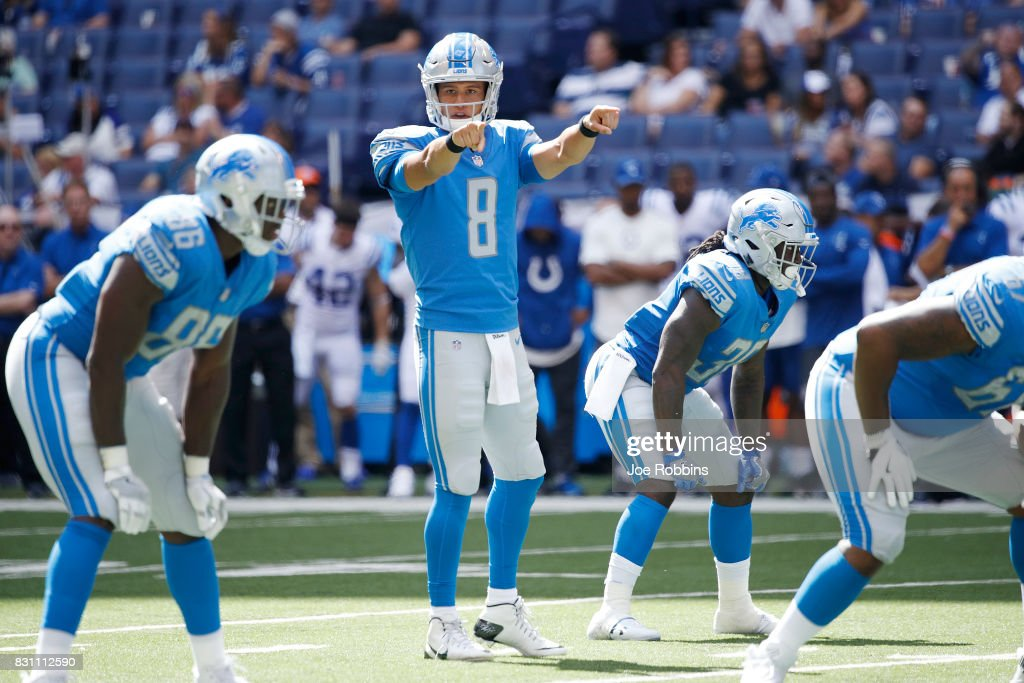 Brad Kaaya #8 of the Detroit Lions directs the offense against the Indianapolis Colts in the second half of a preseason game at Lucas Oil Stadium on August 13, 2017 in Indianapolis, Indiana.
