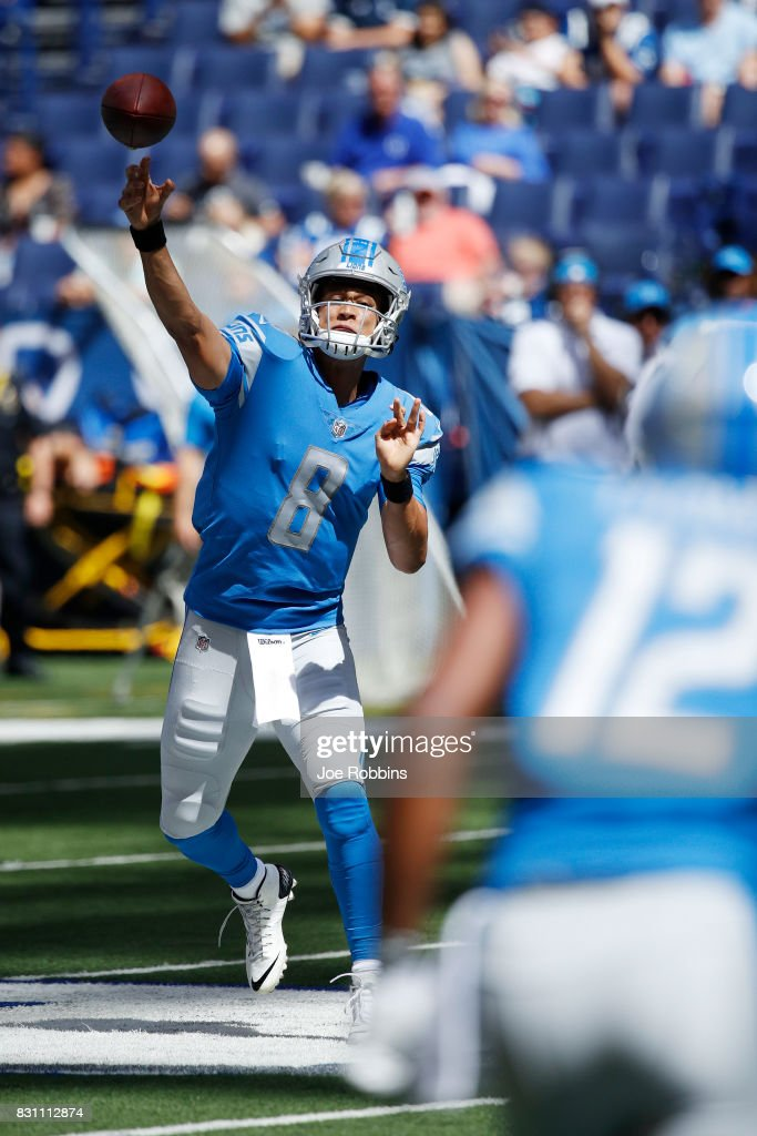 Brad Kaaya #8 of the Detroit Lions throws a pass against the Indianapolis Colts in the second half of a preseason game at Lucas Oil Stadium on August 13, 2017 in Indianapolis, Indiana.
