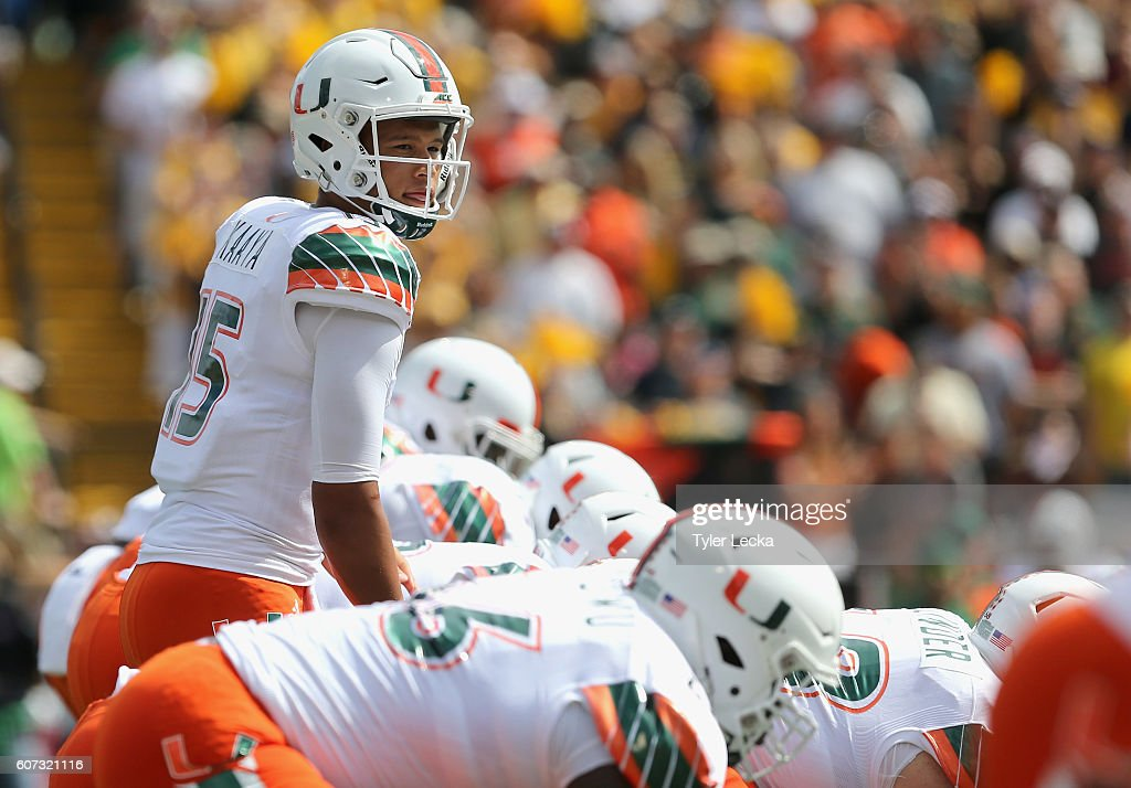 Brad Kaaya #15 of the Miami Hurricanes lines up against the Appalachian State Mountaineers during their game at Kidd Brewer Stadium on September 17, 2016 in Boone, North Carolina.