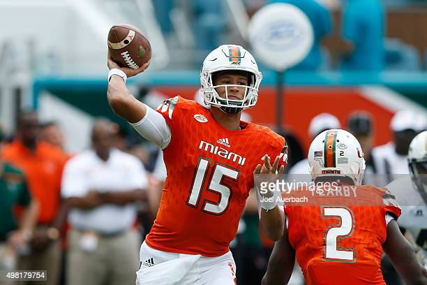 Brad Kaaya of the Miami Hurricanes throws the ball during first quarter action against the Georgia Tech Yellow Jackets on November 21 2015 at Sun...