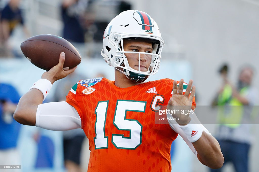 Brad Kaaya #15 of the Miami Hurricanes warms up prior to the start of the Russell Athletic Bowl against the West Virginia Mountaineers at Camping World Stadium on December 28, 2016 in Orlando, Florida.