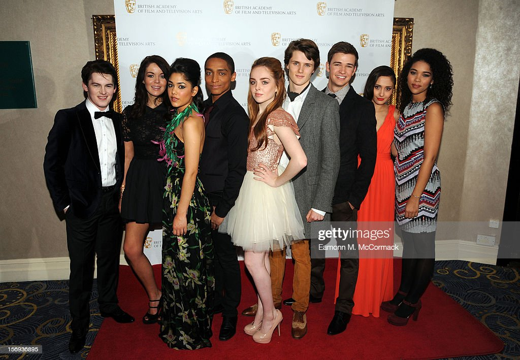 Brad Kavanagh, Jade Ramsey, Tasie Lawrence, Alex Sawyer, Louisa Connolly-Burnham, Eugene Simon, Burkley Duffield, Klariza Clayton and Alexandra Shipp of Nickleodeon's House of Anubis attend 2012 Children's BAFTA Awards at Hilton Park Lane on November 25, 2012 in London, England.