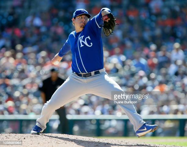 Brad Keller of the Kansas City Royals pitches against the Detroit Tigers during the seventh inning at Comerica Park on September 23 2018 in Detroit...