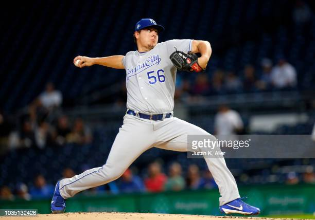 Brad Keller of the Kansas City Royals pitches in the first inning against the Pittsburgh Pirates during interleague play at PNC Park on September 17...