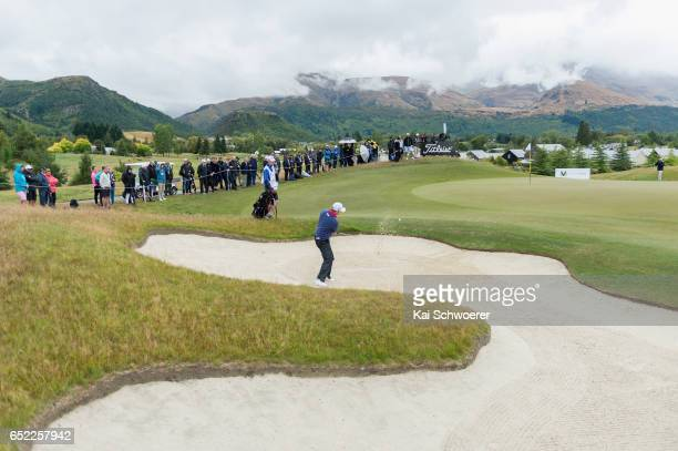 Brad Kennedy of Australia plays a bunker shot during day four of the New Zealand Open at Millbrook Resort on March 12 2017 in Queenstown New Zealand