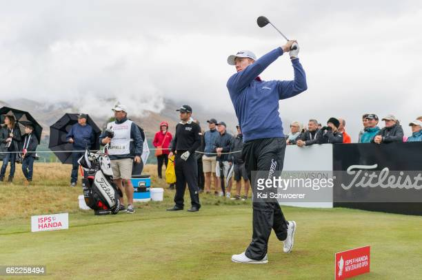 Brad Kennedy of Australia tees off during day four of the New Zealand Open at Millbrook Resort on March 12 2017 in Queenstown New Zealand
