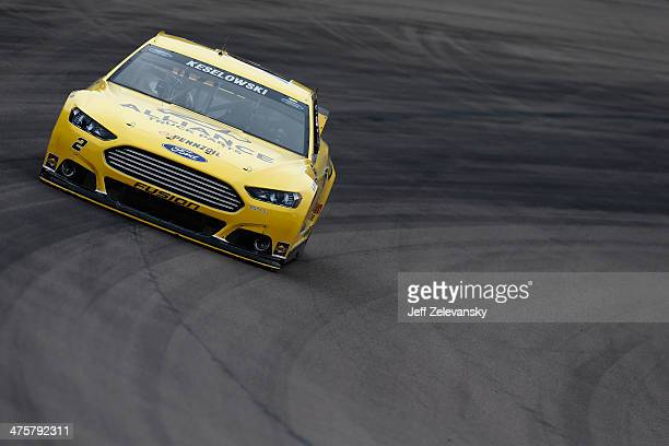 Brad Keselowski driver of the Alliance Truck Parts Ford practices for the NASCAR Sprint Cup Series The Profit on CNBC 500 at Phoenix International...