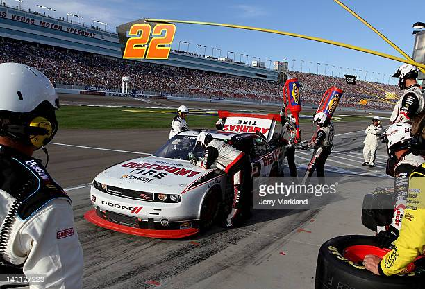 Brad Keselowski driver of the Discount Tire Dodge pits during the NASCAR Nationwide Series Sam's Town 300 at Las Vegas Motor Speedway on March 10...
