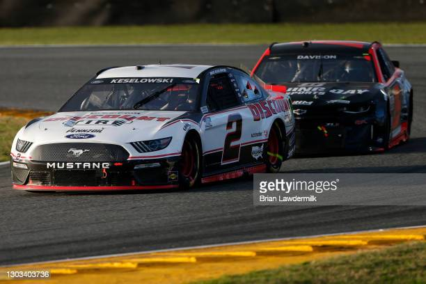 Brad Keselowski, driver of the Discount Tire Ford, drives during the NASCAR Cup Series O'Reilly Auto Parts 253 at Daytona International Speedway on...