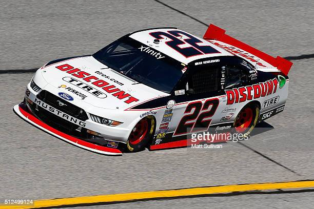 Brad Keselowski driver of the Discount Tire Ford practices for the NASCAR XFINITY Series Heads Up Georgia 250 at Atlanta Motor Speedway on February...