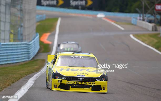 Brad Keselowski driver of the Hertz Ford qualifies for the NASCAR XFINITY Series Zippo 200 at Watkins Glen International on August 8 2015 in Watkins...