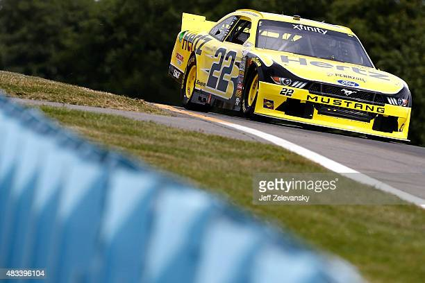 Brad Keselowski driver of the Hertz Ford races during qualifying for the NASCAR XFINITY Series Zippo 200 at Watkins Glen International on August 8...