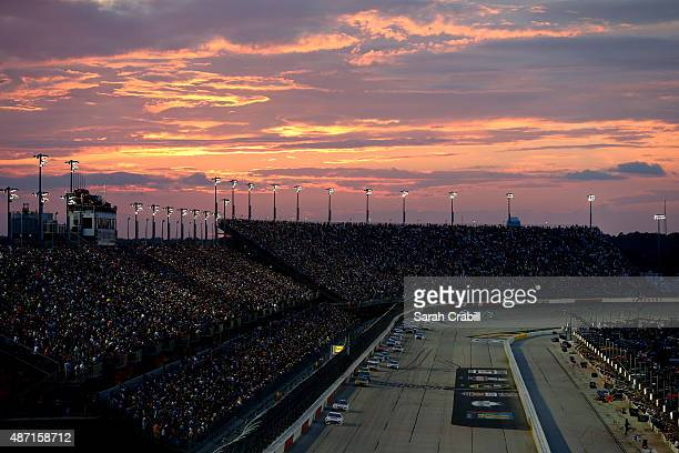 Brad Keselowski driver of the Miller High Life Ford leads the field during the NASCAR Sprint Cup Series Bojangles' Southern 500 at Darlington Raceway...