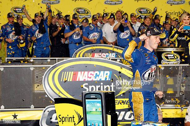 Brad Keselowski driver of the Miller Lite Dodge celebrates in Champion Victory Lane after winning the series championship and finishing in fifteenth...