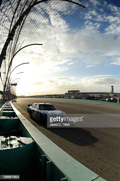 Brad Keselowski driver of the Miller Lite Dodge drives during the NASCAR Sprint Cup Series Ford EcoBoost 400 at HomesteadMiami Speedway on November...