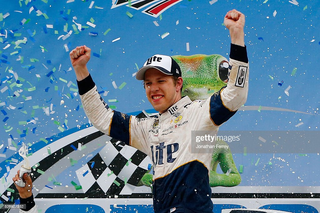 Brad Keselowski, driver of the #2 Miller Lite Ford, celebrates in Victory Lane after winning the NASCAR Sprint Cup Series GEICO 500 at Talladega Superspeedway on May 1, 2016 in Talladega, Alabama.