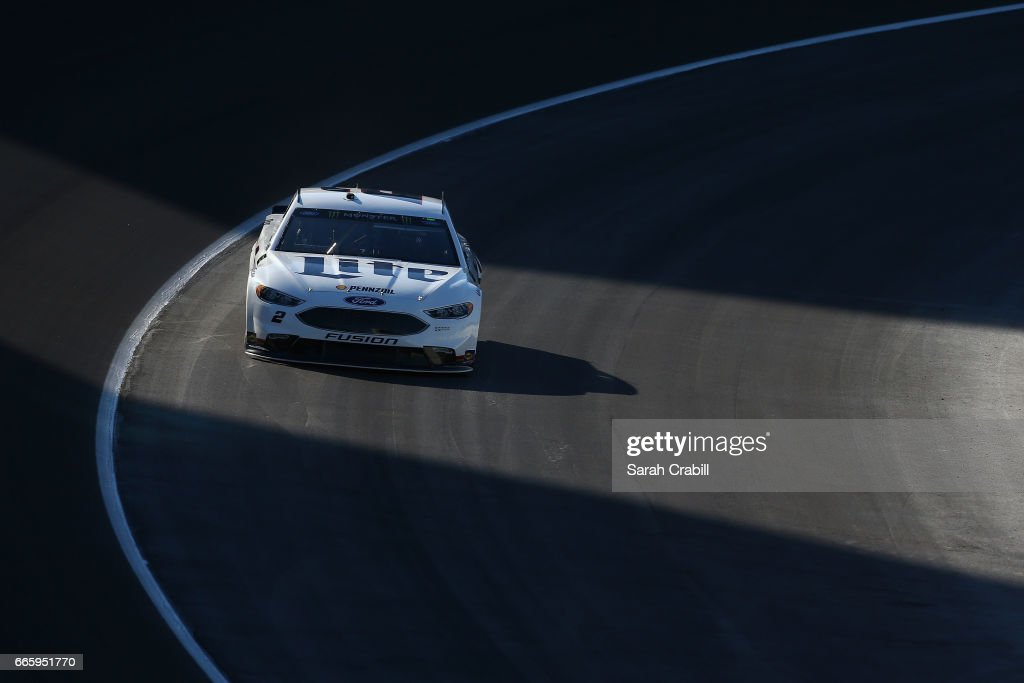 Brad Keselowski, driver of the #2 Miller Lite Ford, drives during qualifying for the Monster Energy NASCAR Cup Series O'Reilly Auto Parts 500 at Texas Motor Speedway on April 7, 2017 in Fort Worth, Texas.