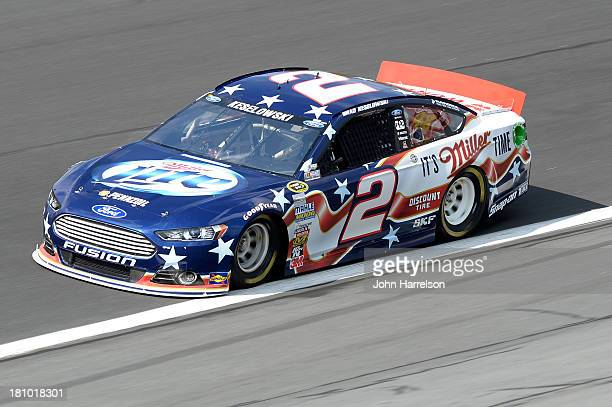 Brad Keselowski driver of the Miller Lite Ford during practice for the NASCAR Sprint Cup Series CocaCola 600 at Charlotte Motor Speedway on May 23...