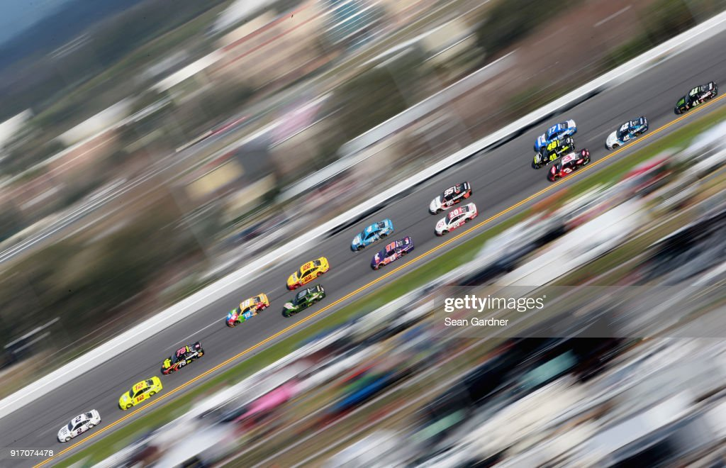 Brad Keselowski, driver of the #2 Miller Lite Ford, leads a pack of cars during the Monster Energy NASCAR Cup Series Advance Auto Parts Clash at Daytona International Speedway on February 11, 2018 in Daytona Beach, Florida.