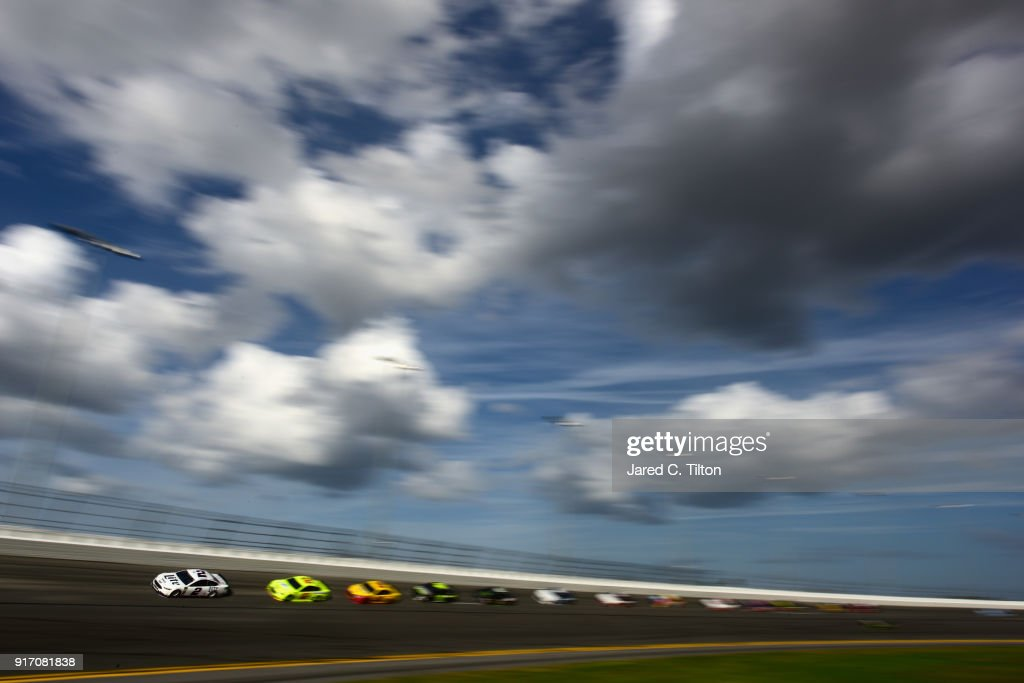 Brad Keselowski, driver of the #2 Miller Lite Ford, leads the field during the Monster Energy NASCAR Cup Series Advance Auto Parts Clash at Daytona International Speedway on February 11, 2018 in Daytona Beach, Florida.