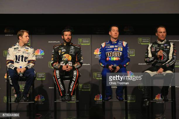 Brad Keselowski driver of the Miller Lite Ford Martin Truex JR driver of the Bass Pro Shops / Tracker Boats Toyota Kyle Busch driver of the MM's...