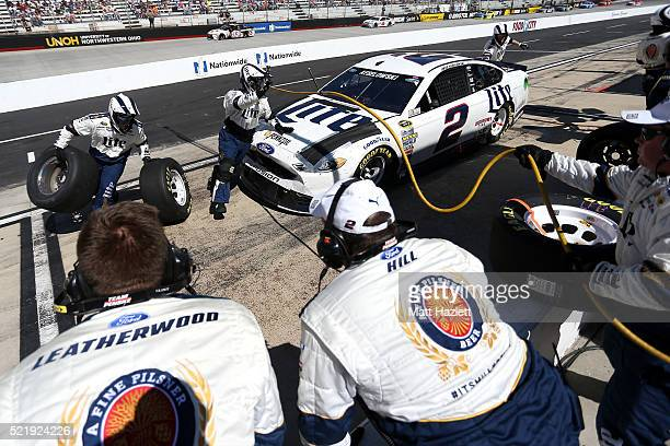 Brad Keselowski driver of the Miller Lite Ford pits during the NASCAR Sprint Cup Series Food City 500 at Bristol Motor Speedway on April 17 2016 in...