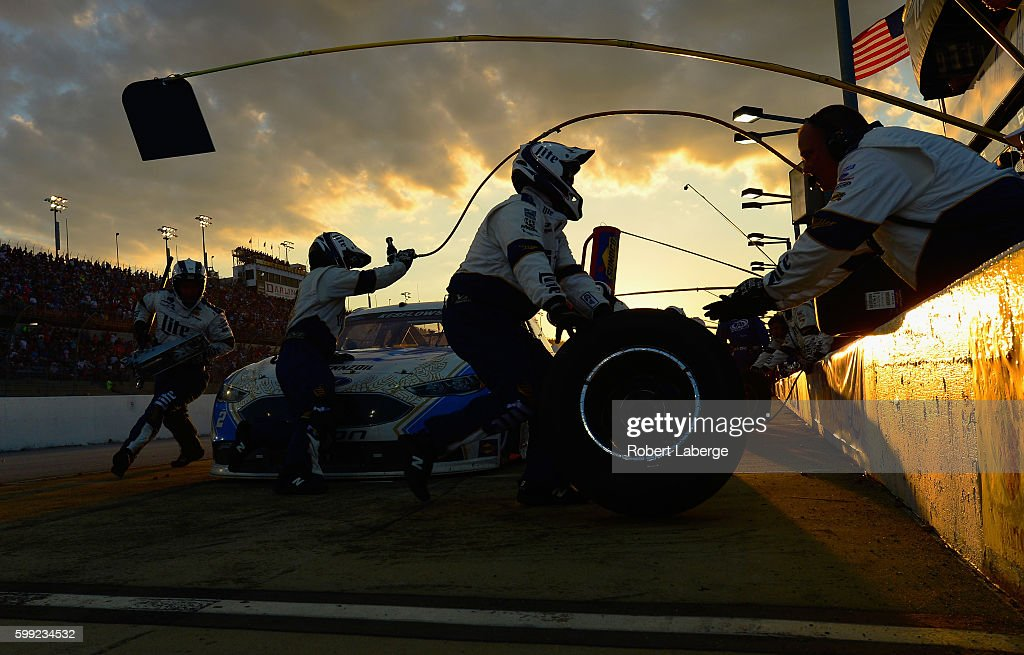 Brad Keselowski, driver of the #2 Miller Lite Ford, pits during the NASCAR Sprint Cup Series Bojangles' Southern 500 at Darlington Raceway on September 4, 2016 in Darlington, South Carolina.